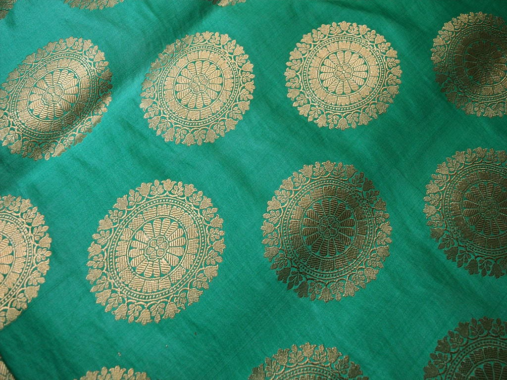Sea Green Silk Brocade Fabric By The Yard Banarasi Silk