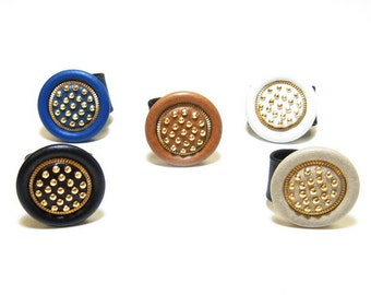 Gorgeous Handmade, Cowhide Leather Rings with Gold Nailheads in Bold colors