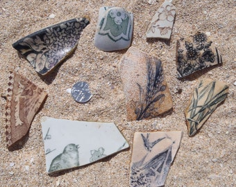 A selection of 9 shards from the River Thames foreshore