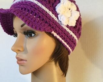 Purple Brimmed Newsboy Hat ~ Size Girl/Teen
