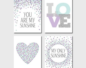 You Are My Sunshine My Only Sunshine Prints Lavender Aqua Gray Baby Girl Nursery Decor Set of 4 Prints Aqua Purple Nursery Wall Art