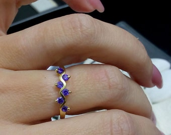 SALE! Amethyst Ring,February Stacking Ring,Thin TIny Ring,Gold Ring,Prong Set, Purple Ring, Simple Ring