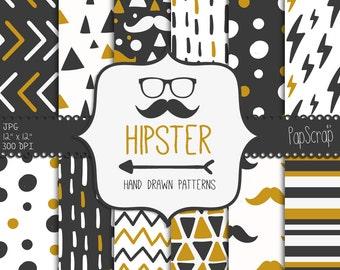 "Hipster digital paper : ""HIPSTER"" - Gentleman digital paper in grey and mustard / hand drawn hipster patterns / mustache digital paper"