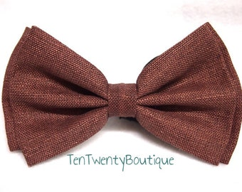 Brown Woven Textured Barn Bow Tie -  Chocolate Brown Wedding Print Bowtie Adult Teen Pattern Unisex Adjustable Strap Hipster A
