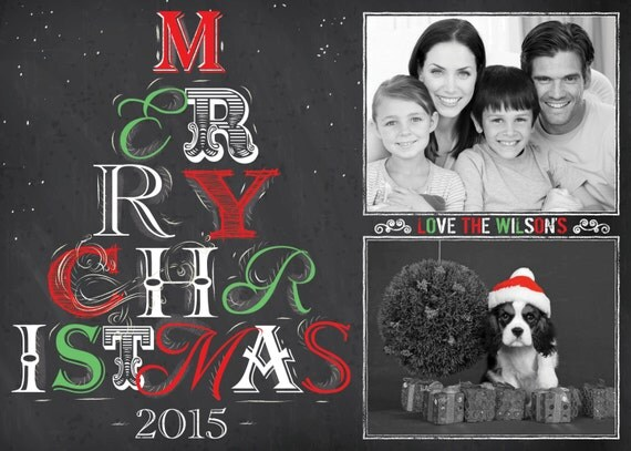 Chalkboard Christmas Card Template, PHOTOSHOP TEMPLATE, INSTANT Download, Photographer template, Commercial Use
