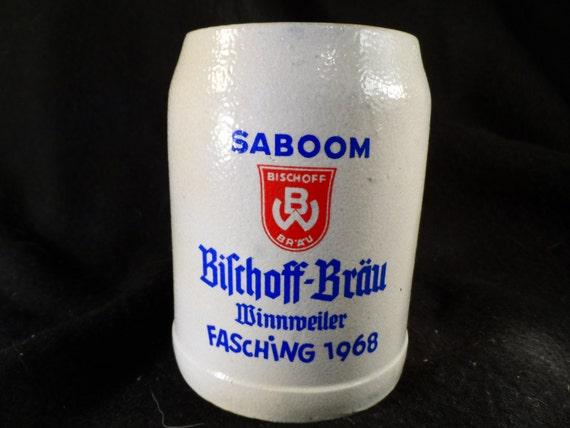 Stein-Salt Glazed Beer Stein-Bischoff Brau Minnmeiler Fasching  1968 Salt Glazed Beer Stine.