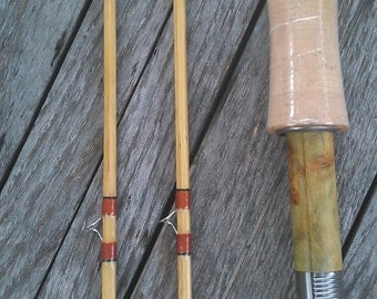 "Bamboo FlyRod 7'6"" for # 5 line wt.with green wood reelseat."