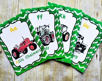 Tractors and Machines ABC Card Set- John Deere Nursery, Tractor Decoration, Alphabet Cards, ABC Cards, Tractor Nursery Decor, PRINTABLE