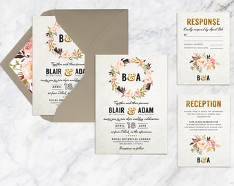 Printable Wedding Invitation Set, Flower Wedding Invitation, Monogram Wedding Invitation, Rustic Bohemian Romantic Wedding Invitation