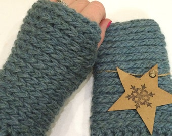 Chunky knit-look crochet fingerless gloves in sea-green colour