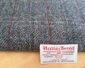 Luxury Handwoven Harris Tweed Cloth Grey Check, Dark Red and Blue Overcheck 100% Pure Virgin Wool handwoven in Outer Hebrides Scotland