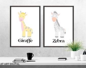 Safari Nursery Art,  Zebra Nursery Print, Nursery Art, Nursery Print, Kids Wall Art, Giraffe Print, Baby Boy Nursery