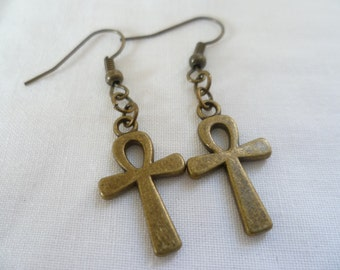 Ankh earrings,egyptian ankh earrings,ankh dropper earrings,cross earrings,bronze ankh,egyptian cross earrings, dangle earrings,small cross