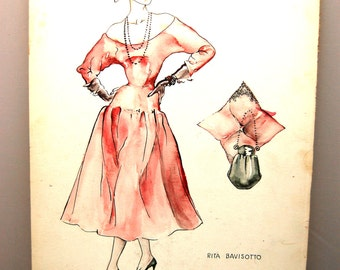 Four Vintage Fashion Drawings