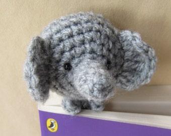 Book Buddy Elephant Bookmark - Crochet Amigurumi Gift, Toy, Finished Product