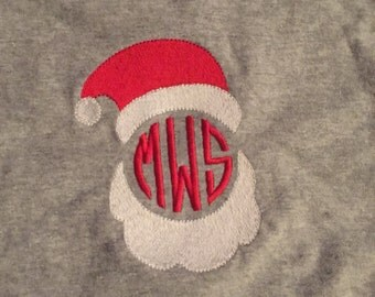 Monogram, Christmas, Santa shirt, embroidery shirt