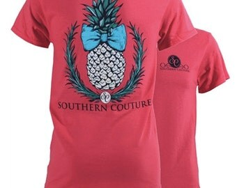 Pineapple, Southern Couture, like Simply Southern, Classic collection, coral silk, pineapple, southern bow, short sleeve tee shirt