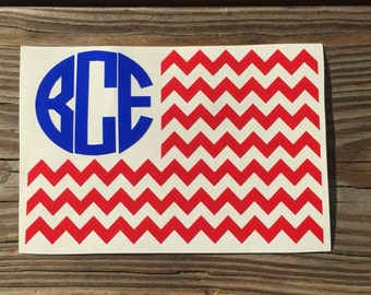 Iron-On Vinyl Monogram American Flag Decal~ Glitter Iron-On Vinyl Decal~ Iron-On Vinyl Decal~ Monogram