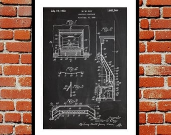 Electric Fireplace Patent, Fireplace Poster, Fireplace Blueprint,  Fireplace Print, Fireplace Art, Fireplace Decor sp365