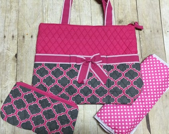 monogrammed pink and gray diaper bag 3 piece set personalized gray pink baby girl mummy bag