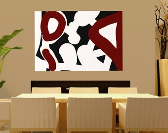 Handmade Extra Large Contemporary Painting, Huge Abstract Canvas Art, Original Red,Black and white,minimalist paintings, Large canvas Art
