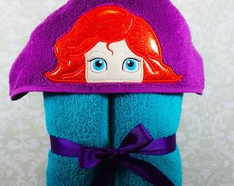 Ariel Little Mermaid Inspired Hooded Towel on High Quality Belk Department Store Towels