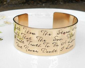 Bronze Hamlet Quote Bracelet,  Literary Quote, Shakespeare Bracelet, Bronze Anniversary Gift, 8th Wedding Anniversary, Gift for Wife.