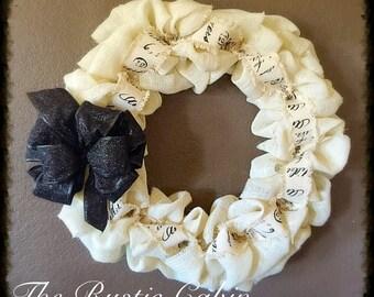 Black and White Burlap Wreath