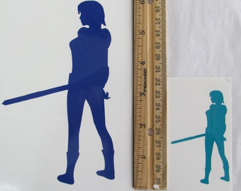 Vinyl Gamer RPG Car Window Decal Sticker Female Warrior Fighter with Sword Silhouette Role Playing Game Gaming D&D Dungeons Dragons