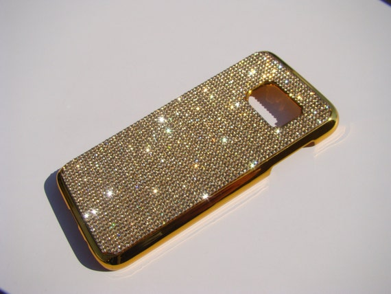 Galaxy S7 Gold Topaz Crystals on Gold-Bronze Chrome Case. Velvet/Silk Pouch Bag Included, Genuine Rangsee Crystal Cases.
