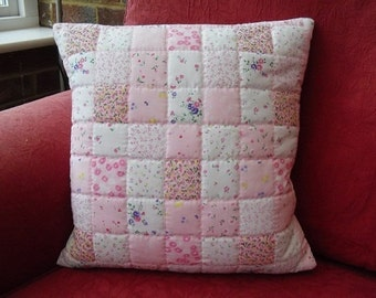Hand Stitched Quilted Pink Cushion Cover