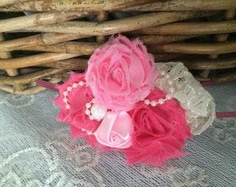 Pink Flower Lace Pearl Headband Newborn