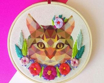 Kitty Embroidery Hoop Art