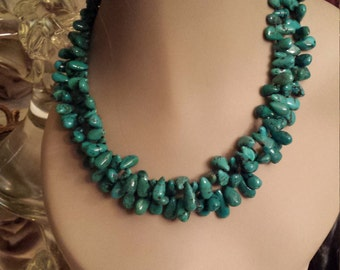 Two strand turquoise teardrop necklace