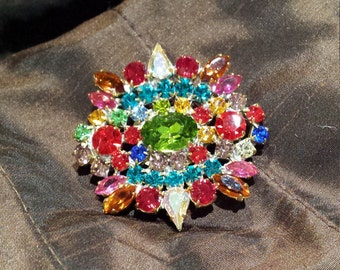 Vintage brooch multi colored crystal