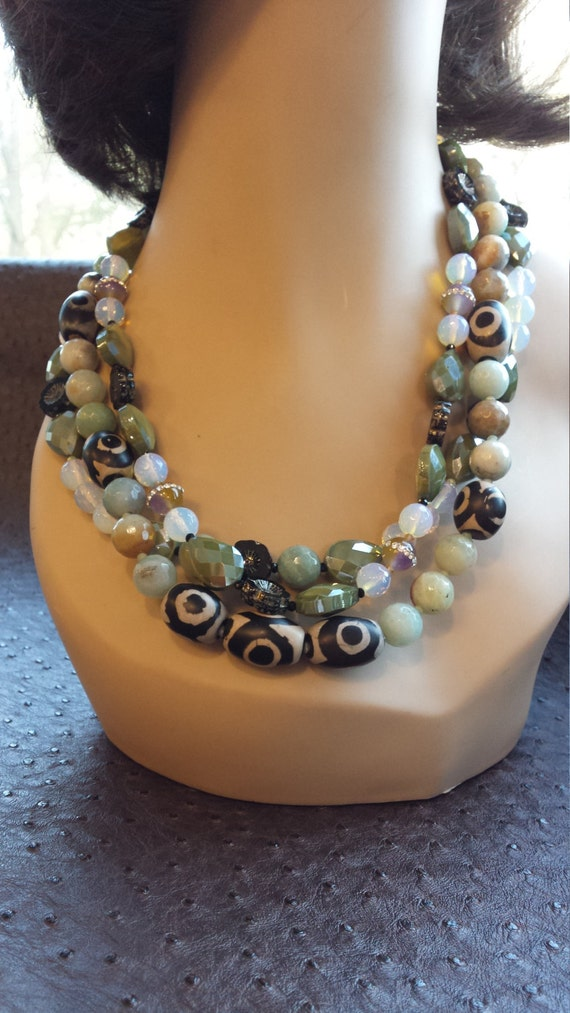 Two strand necklace made with jasper, opulite and artist glass faceted beads
