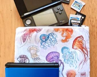 Jellyfish pattern zip case - pencil case - DS case - wash bag - make up bag