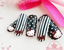 Hello Kitty B&W one set of Full Nail polish strips wrap stickers Salon effects  ~QJ-1001