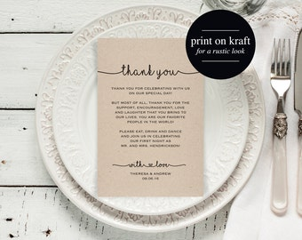 Wedding Thank You Card, Thank You Printable, Template, Wedding Table Thank You, 4x6 Printable Template, DIY, PDF Instant Download #BPB140_14