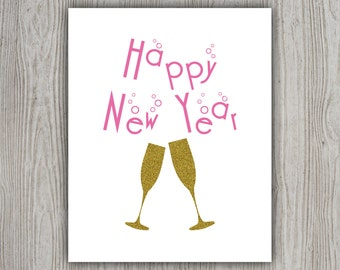 Happy New Year Glitter Print, Printable Artwork, Gold Glitter, Printable Poster, Printable Wall Art, Digital Products, INSTANT DOWNLOAD