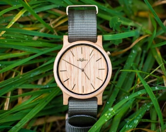 Elegant Handmade Wood Watches With Czech Design Made From Maple With Dark Grey Nato Strap