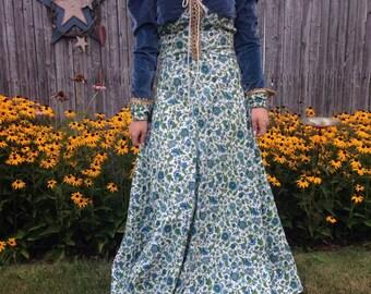 Vintage Black Label Gunne Sax 60s Prairie Renaissance Maxi Dress Tag Size 5 6 Velvet Jute Laced Floral Blue Hippie Wedding Fairy Princess