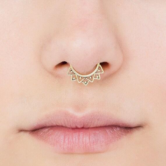 Fake Septum Ring. fake septum jewelry. septum clip. brass septum ring. tribal septum. faux septum. septum cuff. fake septum piercing. tribal