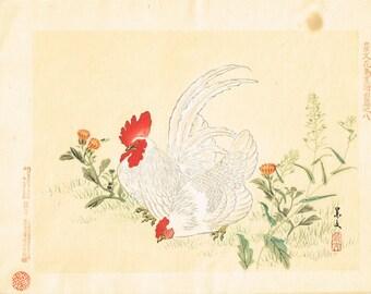 "1894, Japanese Woodblock print, antique, Matsumura Keibun, ""Fowl"""