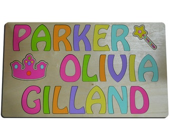 Crown & Wand Hand Crafted Personalized Wooden Puzzles Three (3) Name Personalized Gift For Kids 257599568