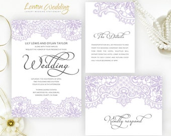 Lilac wedding Invitation printed on perlescent paper | Lace  wedding invitations | Cheap wedding invites