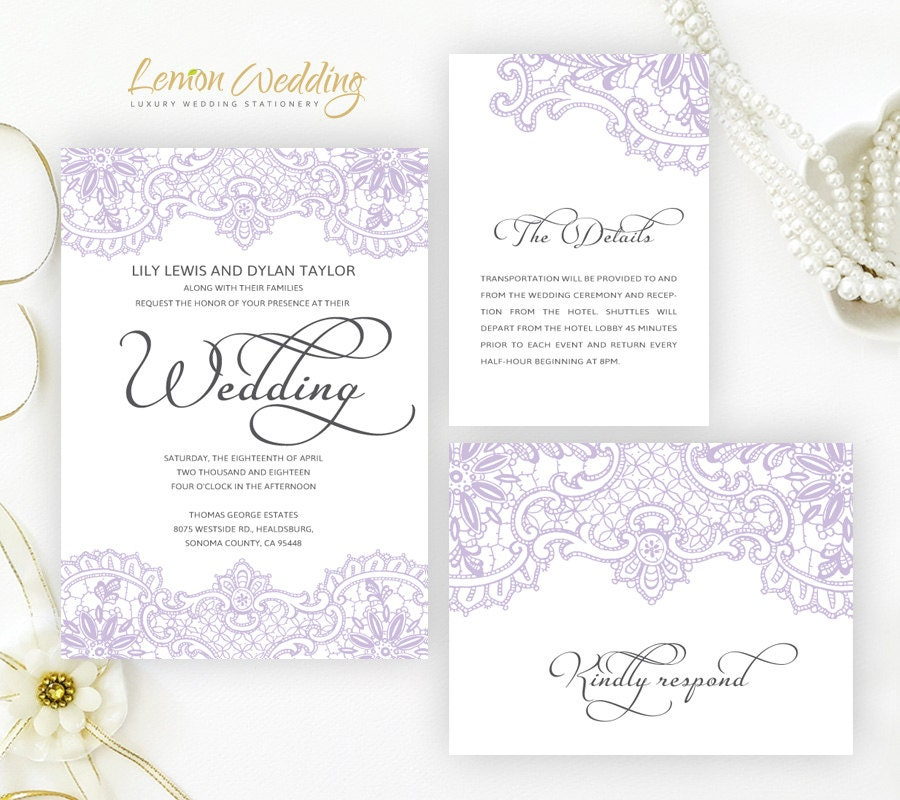 Lilac Wedding Invitation Printed On Perlescent Paper Lace