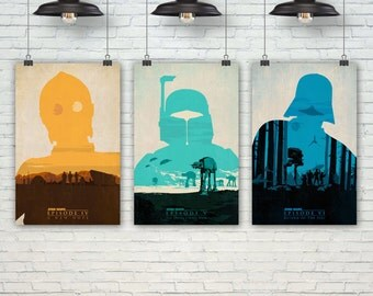 Star Wars Poster. Boba Fett, C-3PO, Darth Vader, At-At Poster. Pop Culture & Modern Home Decor. Gift For Him. Set of 3 Prints. Item No.: 127