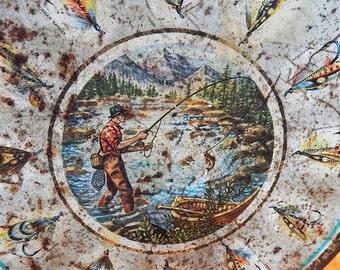 Vintage Fishing-Theme Biscuit Tin