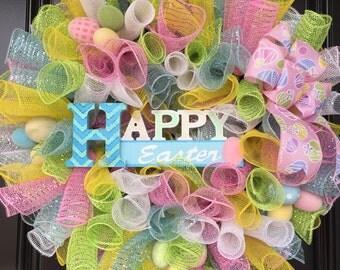 Happy Easter Mesh Wreath